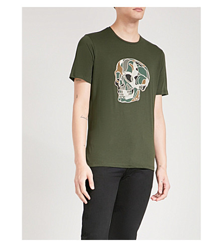 THE KOOPLES Skull-embroidered cotton-jersey T-shirt (Grn57