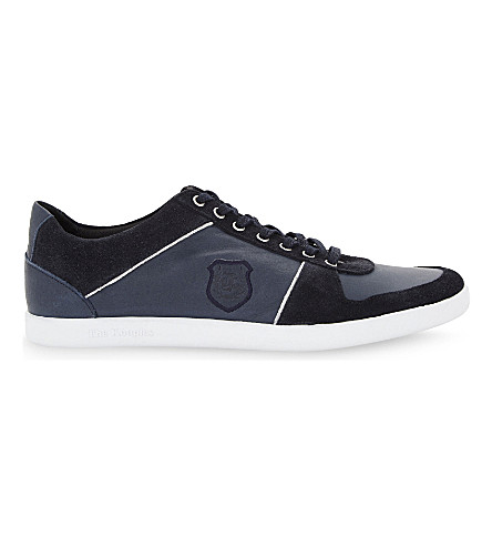 THE KOOPLES SPORT Leather & suede lace-up trainers (Nav01