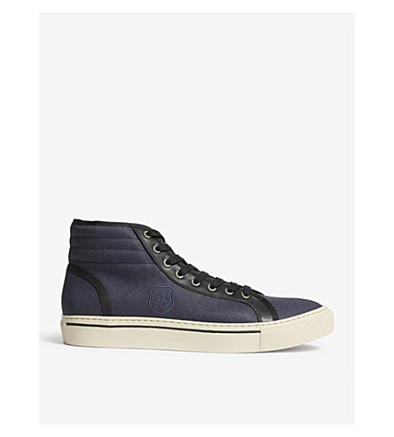 THE KOOPLES Leather trim canvas high-top trainers (Nav01