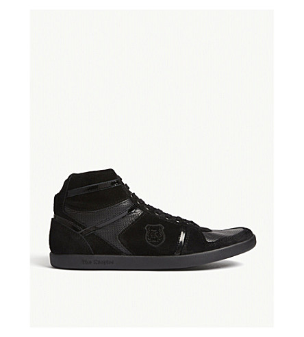 THE KOOPLES Panelled suede, smooth and patent-leather trainers (Bla01