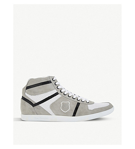 THE KOOPLES Perforated suede and leather trainers (Whi01