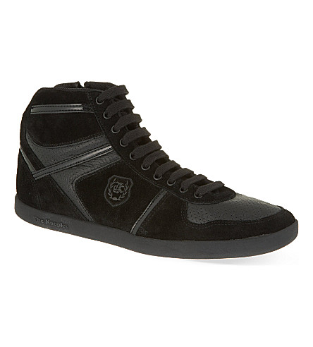 THE KOOPLES Leather & suede high-top trainers (Black