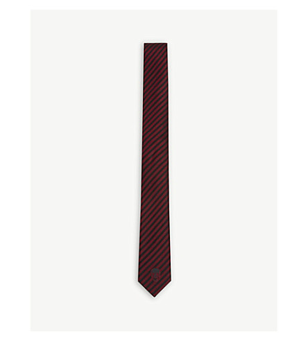THE KOOPLES Skull and jacquard stripe slim silk tie (Red19