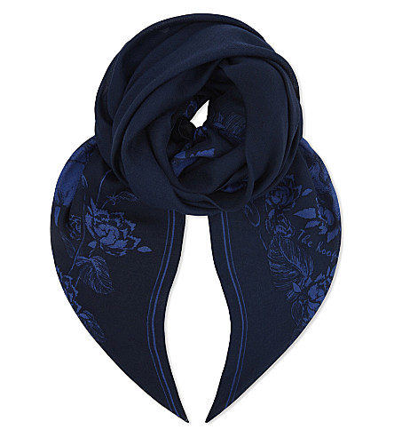 THE KOOPLES Floral modal and wool-blend scarf (Bluc4