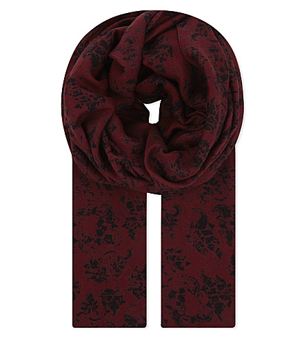 THE KOOPLES Floral skull modal and wool-blend scarf (Bla22