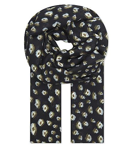 THE KOOPLES Leopard print wool blend scarf (Bla68