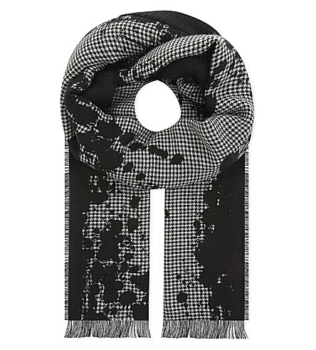 THE KOOPLES Houndstooth wool-blend scarf (Bla28