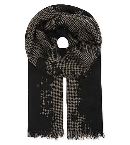 THE KOOPLES Houndstooth wool-blend scarf (Bla68