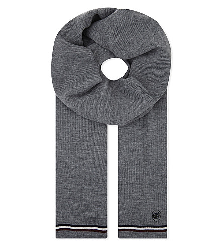 THE KOOPLES Striped-trim knitted scarf (Gry01
