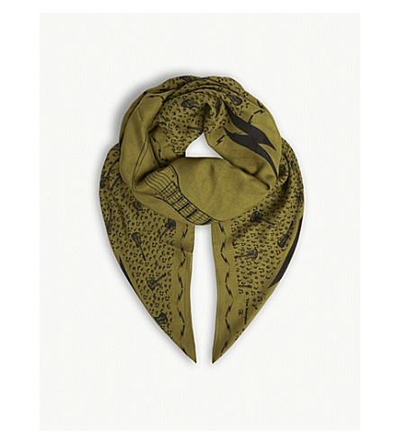 THE KOOPLES Music motif print modal-wool blend scarf (Grn09