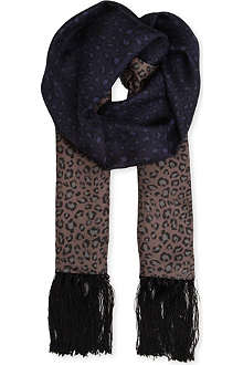 THE KOOPLES Leopard-print silk scarf