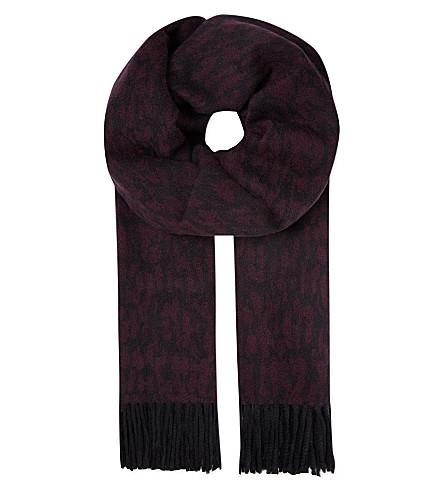 THE KOOPLES Jacquard leopard print scarf (Burgundy