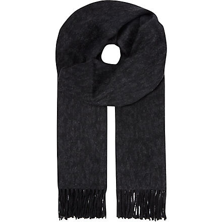 THE KOOPLES Jacquard leopard print scarf (Grey