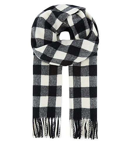 THE KOOPLES SPORT Wool jacquard scarf (Black/white