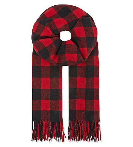 THE KOOPLES SPORT Wool checked scarf (Red/black