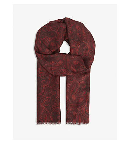 THE KOOPLES 佩斯利真丝混纺围巾 (Bur01