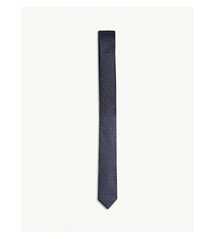 THE KOOPLES Zigzag pattern slim silk tie (Nav01