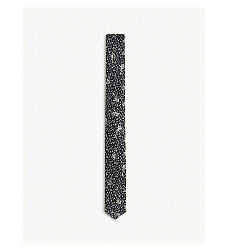 THE KOOPLES Guitar print skinny silk tie (Bla01