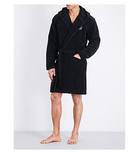THE KOOPLES SPORT Logo-embroidered cotton-towelling dressing gown (Bla01