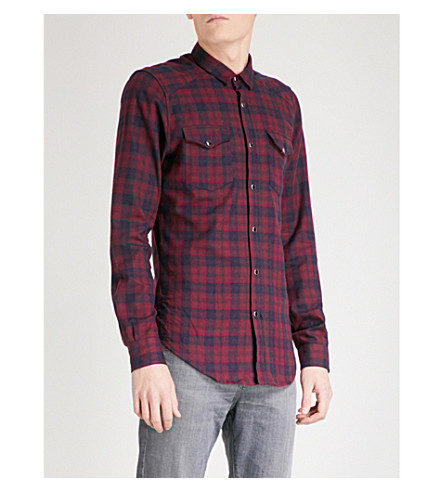 THE KOOPLES Fitted checked brushed-cotton shirt (Bur25