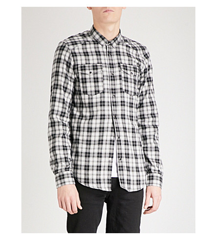 THE KOOPLES Fitted checked brushed-cotton shirt (Gry04