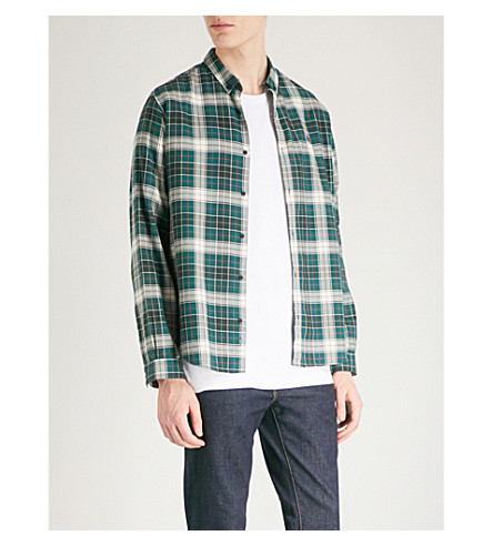 THE KOOPLES Checked fitted cotton shirt (Grn32