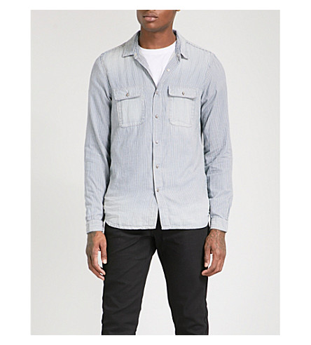 THE KOOPLES Striped denim shirt with skull buttons (Blu01