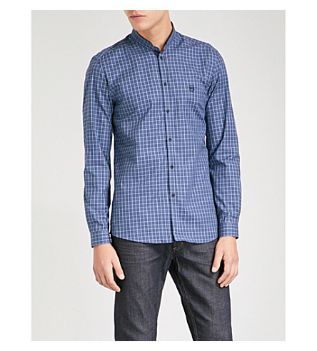 THE KOOPLES Checked cotton-poplin shirt (Nav49