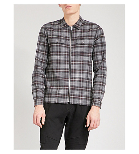 THE KOOPLES Checked brushed-cotton shirt (Gry26