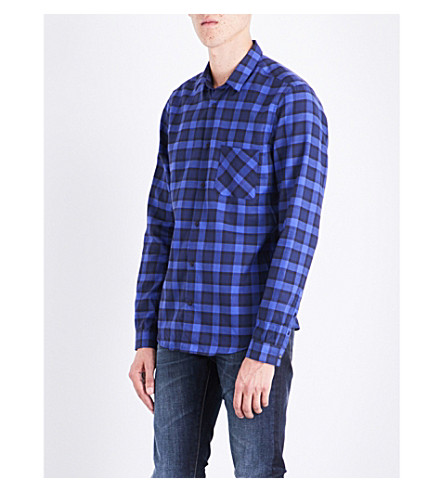 THE KOOPLES Checked brushed-cotton shirt (Bla76