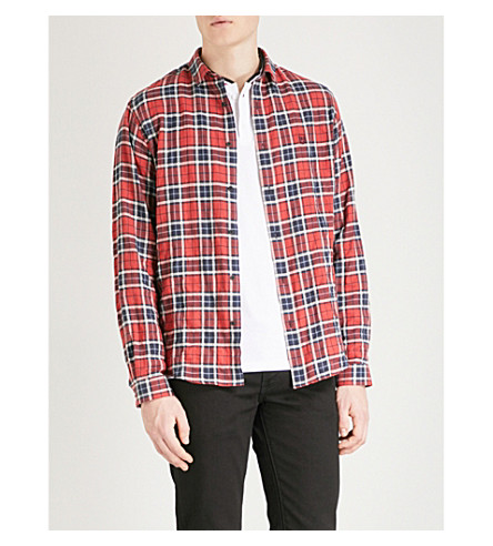 THE KOOPLES Checked fitted cotton-blend shirt (Red13
