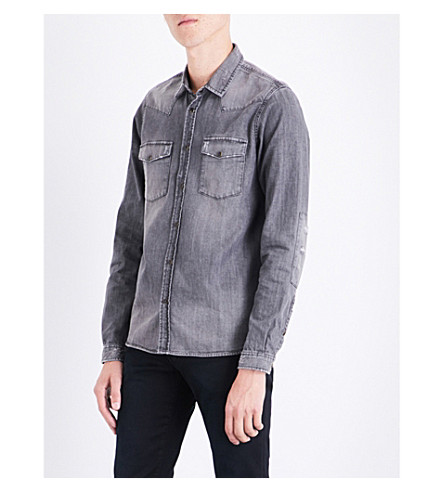 THE KOOPLES Distressed slim-fit denim shirt (Bla55