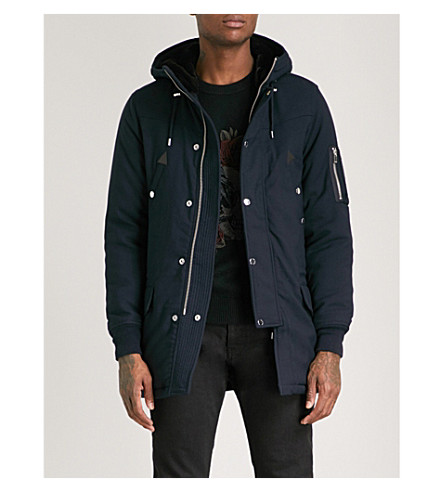 THE KOOPLES Leather-trimmed shell parka coat (Nav01
