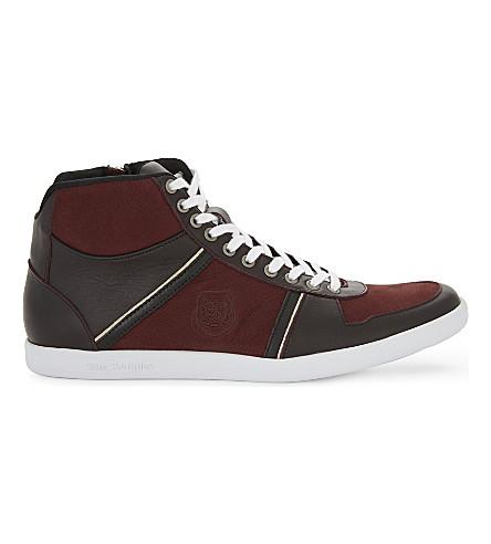 THE KOOPLES 徽标细节皮革高帮运动鞋 (Bur01