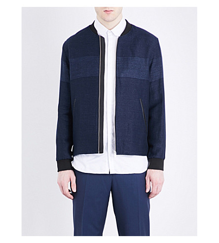 THE KOOPLES Denim-style linen and cotton-blend jacket (Blu01