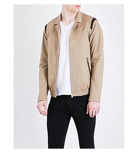 THE KOOPLES SPORT Suede-trim cotton-blend jacket (Bei01