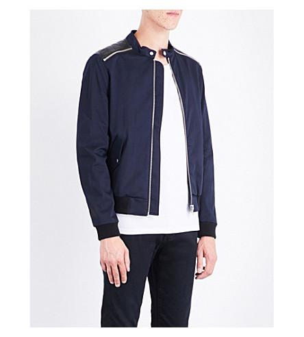 THE KOOPLES SPORT Zip-detail stretch-cotton bomber jacket (Nav01