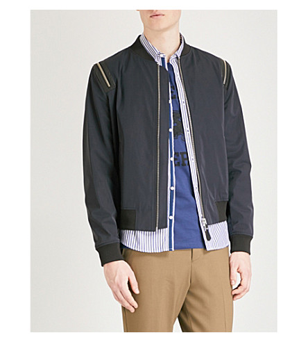 THE KOOPLES Zip-detail shell bomber jacket (Nav01
