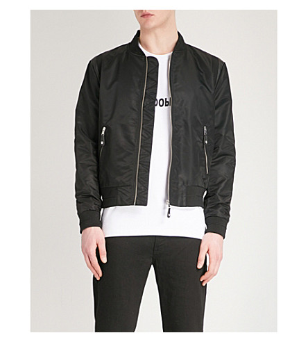 THE KOOPLES Leather-trimmed shell bomber jacket (Bla01
