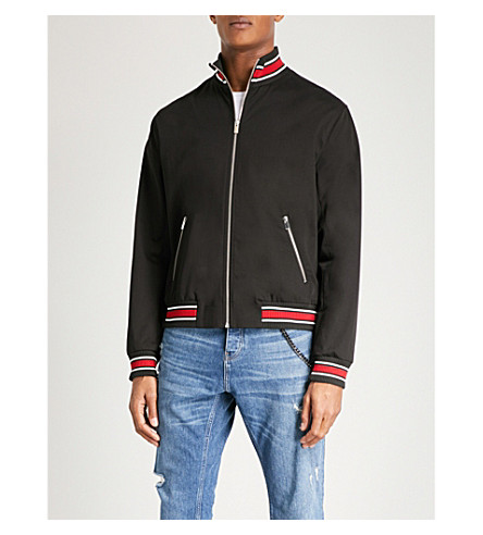 THE KOOPLES Panther-embroidered stretch-cotton bomber jacket (Bla01