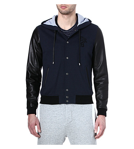 THE KOOPLES SPORT Leather and flanelette hooded jacket (Navy