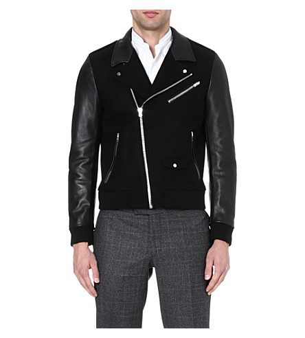 THE KOOPLES SPORT Panelled leather jacket (Black