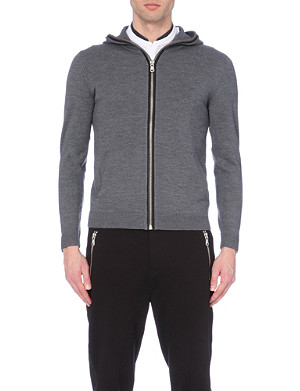 THE KOOPLES SPORT Leather elbow patched wool zipped hoody