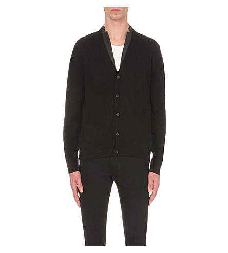 THE KOOPLES Leather-trim knitted cardigan (Black