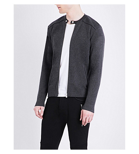 THE KOOPLES SPORT Leather-trim wool and cotton-blend cardigan (Gry13