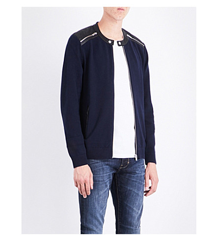 THE KOOPLES SPORT Leather-trim cotton cardigan (Nav01