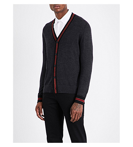 THE KOOPLES SPORT V-neck contrast-ribbed wool cardigan (Gry15