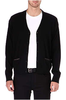 THE KOOPLES Leather trimmed merino wool cardigan