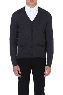 THE KOOPLES Leather-trim wool cardigan