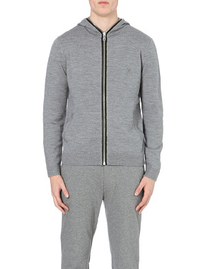 THE KOOPLES SPORT Merino wool and leather hooded cardigan